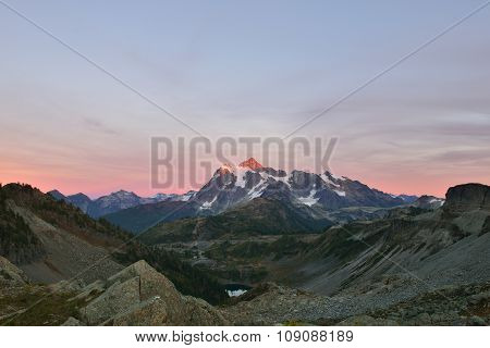 Mount Shuksan Sunset, Viewed From Herman Saddle Slopes