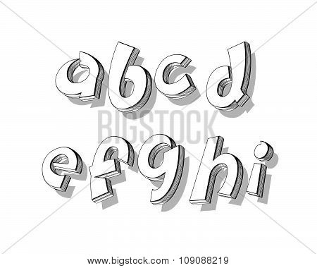 vector of stylized playful doodle alphabets in outlined