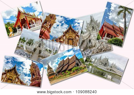 Buddhist Temple Pictures Collage