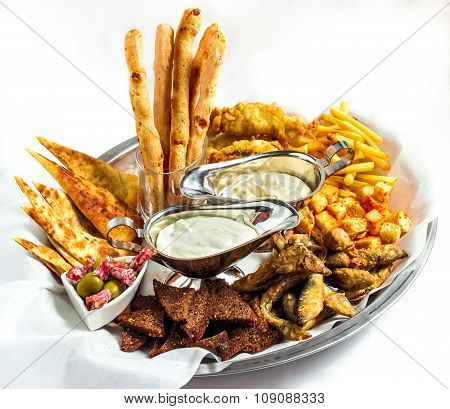 Large plate a wide selection snacks for beer served
