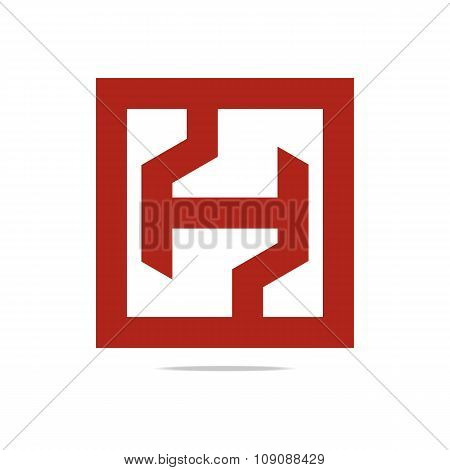 Logo full symbolhexa red  icon vector