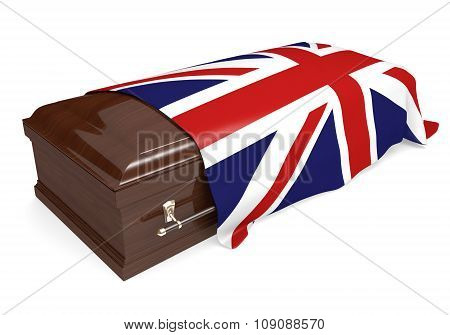 Coffin covered with the national flag of the United Kingdom