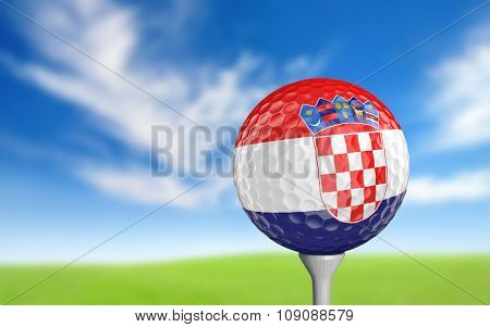 Golf ball with Croatia flag colors sitting on a tee