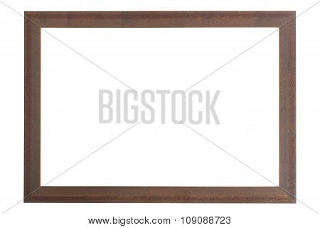 Old Brown Wood Frame Isolated On White