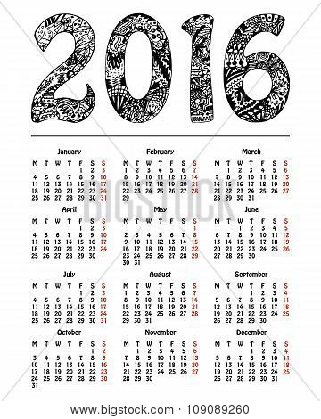 Calendar 2016, New Year