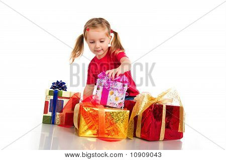 Girl Wih The Boxes Of Gifts