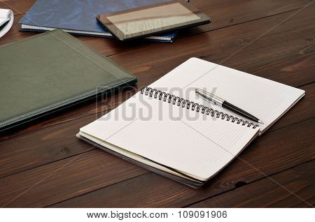 Open Notebook On The Office Desk