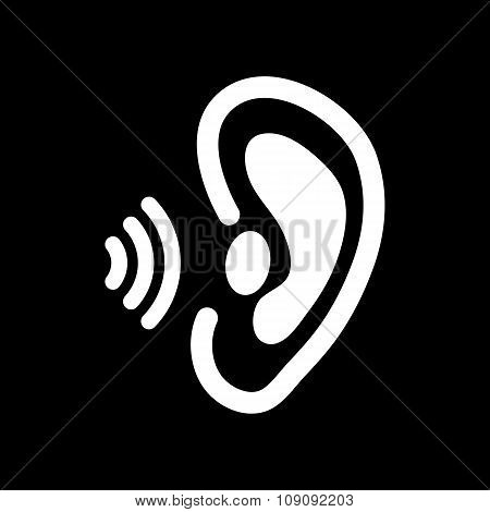 The ear icon. Sense organ and hear, understand symbol. Flat