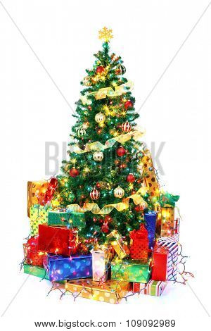 Decorated Christmas tree surrounded by colorful presents. Isolated on white.