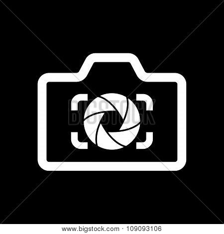 The camera icon. Photo and diaphragm, photographer, photographic symbol. Flat