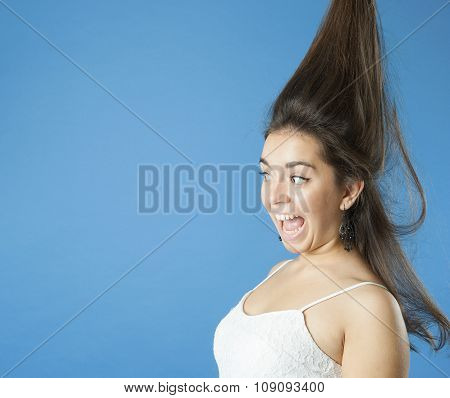 Girl With A Raised Hair Screams..