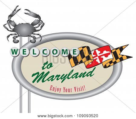 Rroad Sign Welcome To Maryland