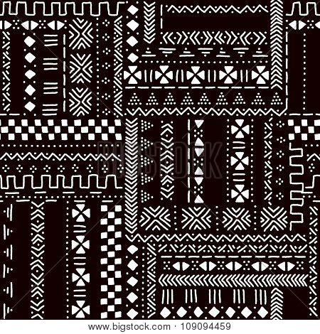 Black and white traditional african mudcloth fabric seamless pattern, vector