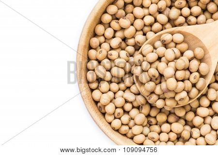 Soy Beans In Bowl Isolated On White Background