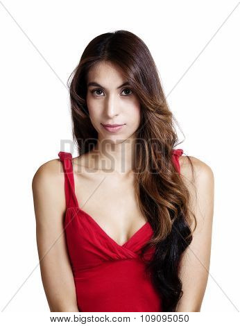 Portrait Skinny Latina Woman Red Top Cleavage