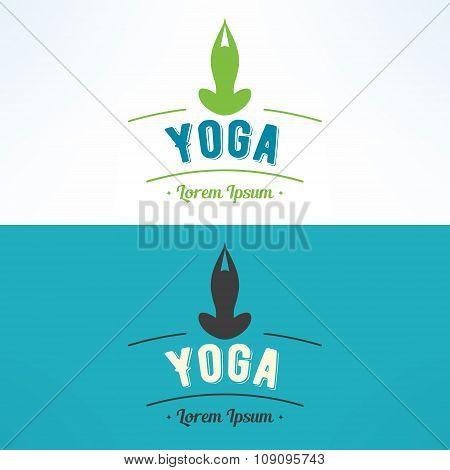 Vector yoga lotus asana logo. Meditation and fitness sign
