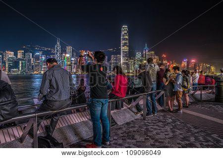 Peoples near Victoria Bay, Hong Kong, China