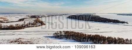 Winter Panorama Of The Kama River