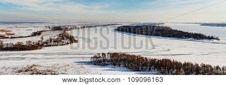 Winter Panorama Of The Kama River