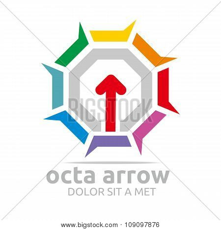 Logo octa arrow icon abstract vector