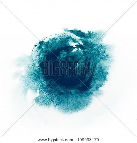 Blue paint watercolor aquarelle stains splatter splashes with rough strokes and edges in grunge styl