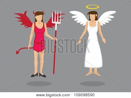 Angel And Devil Vector Cartoon Characters Illustration