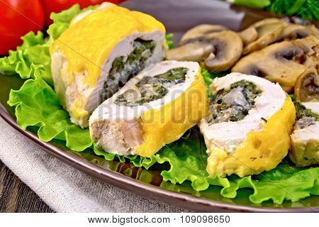 Roll Chicken With Champignons On Board
