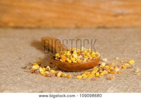Flower Pollen On A Wooden Spoon