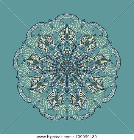 Vector Beautiful Mandala. Colored Pattern For Design