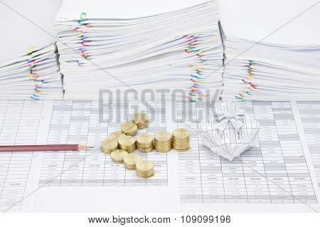 Step Gold Coins As Arrow Between Pencil And Gift Box