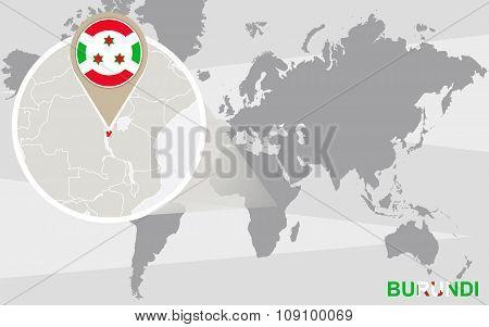 World Map With Magnified Burundi
