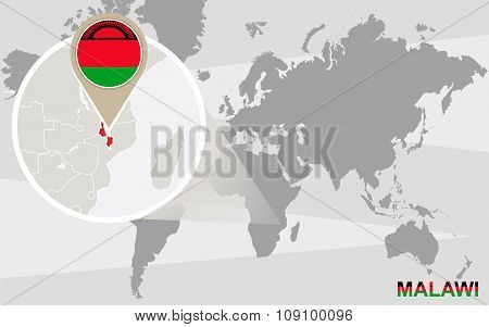 World Map With Magnified Malawi