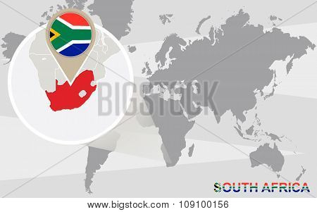 World Map With Magnified South Africa
