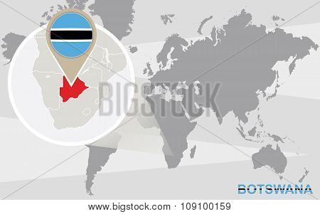 World Map With Magnified Botswana