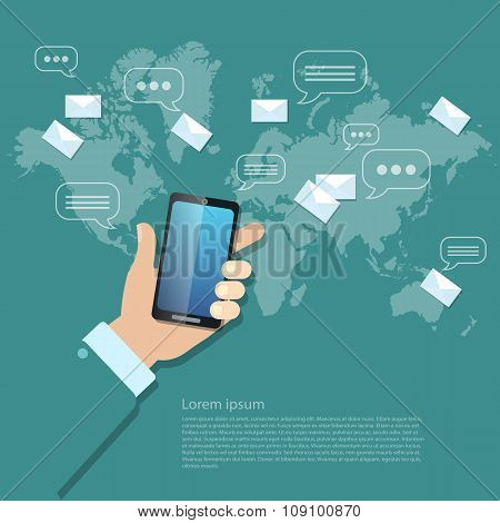Global Communications Sending Messages Mms Sms Touch Screen Mobile Phone