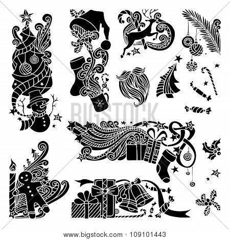 Vector Set Of Christmas Object Silhouettes.