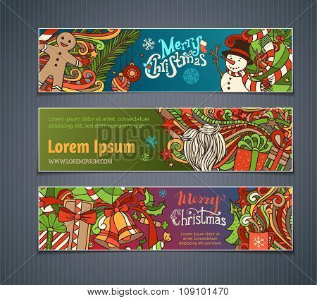Vector Set Of Colorful Christmas Banners.