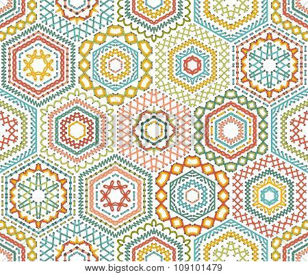 Embroidery Seamless Hexagons Pattern.