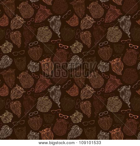 Seamless Pattern Of Fashion Man Beards And Eyeglasses.