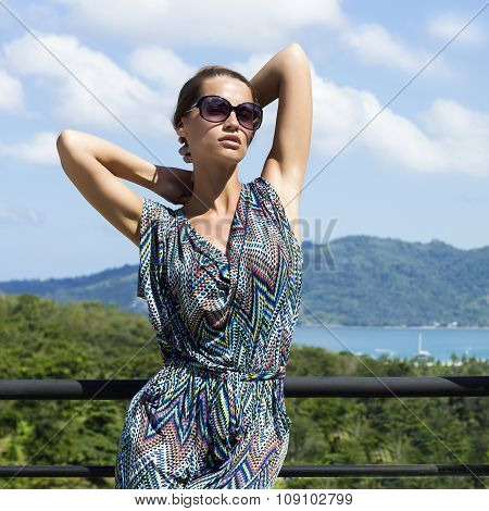 Beautiful fashion woman in tropics.