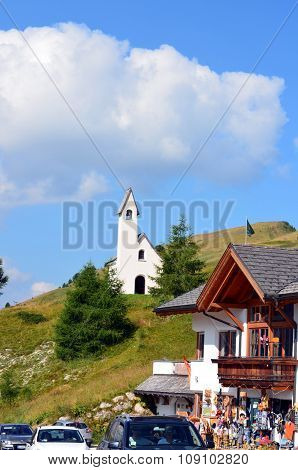 Church To Gardena Pass Dolomiti Italy