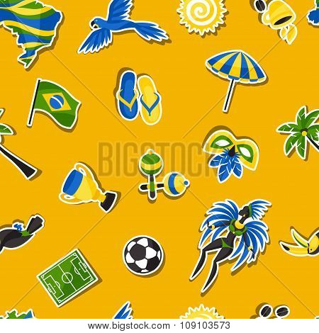 Brazil seamless pattern with sticker objects and cultural symbols