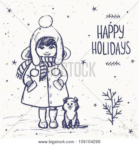 Girl with a dog card