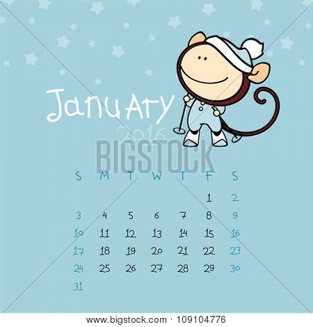 Calendar for the year 2016 - January