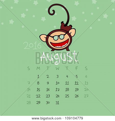 Calendar for the year 2016 - August