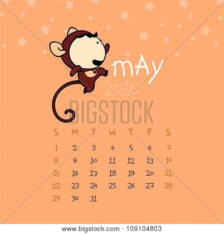 Calendar for the year 2016 - May