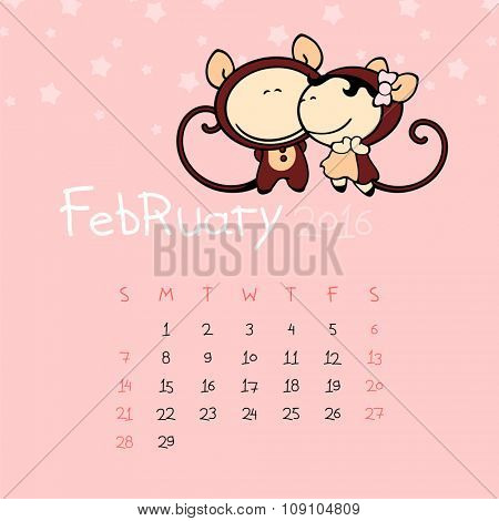 Calendar for the year 2016 - February