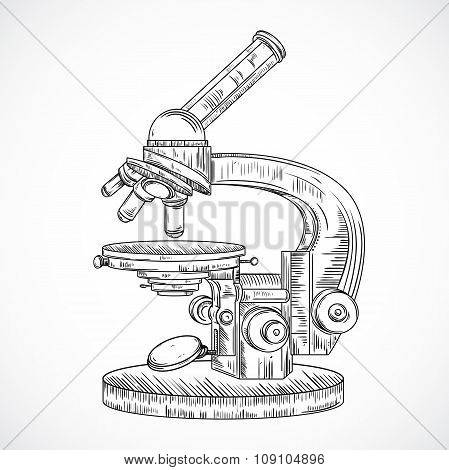 Microscope. Vintage science laboratory. Vector hand drawn illustration in sketch style.
