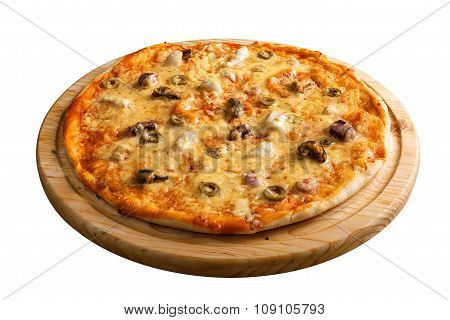 Seafood pizza. With shrimps, mussels and olives