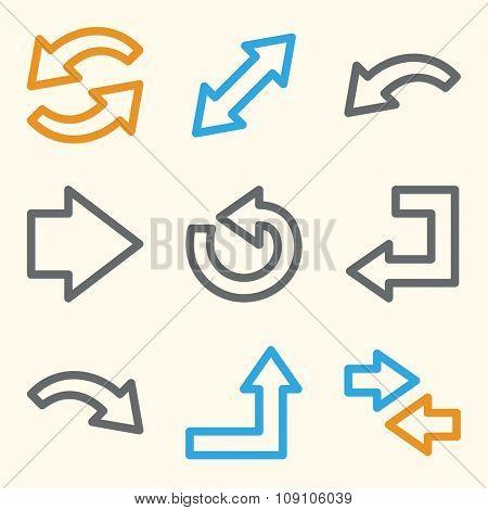 Arrows web icons.  Forward and go, exchange symbol, vector signs